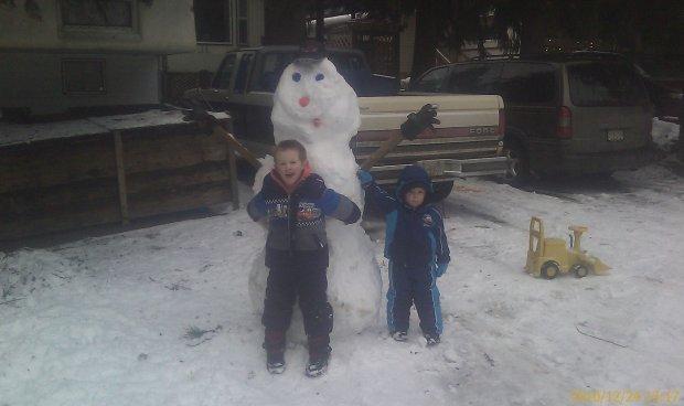 Snowman and boys